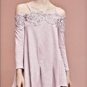 Anthropologie Purple Lace off the shoulder